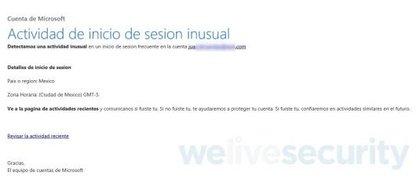 El correo electrónico falso notifica al usuario de un supuesto problema al iniciar sesión en su cuenta (en Live Security, blog de seguridad de Eset)