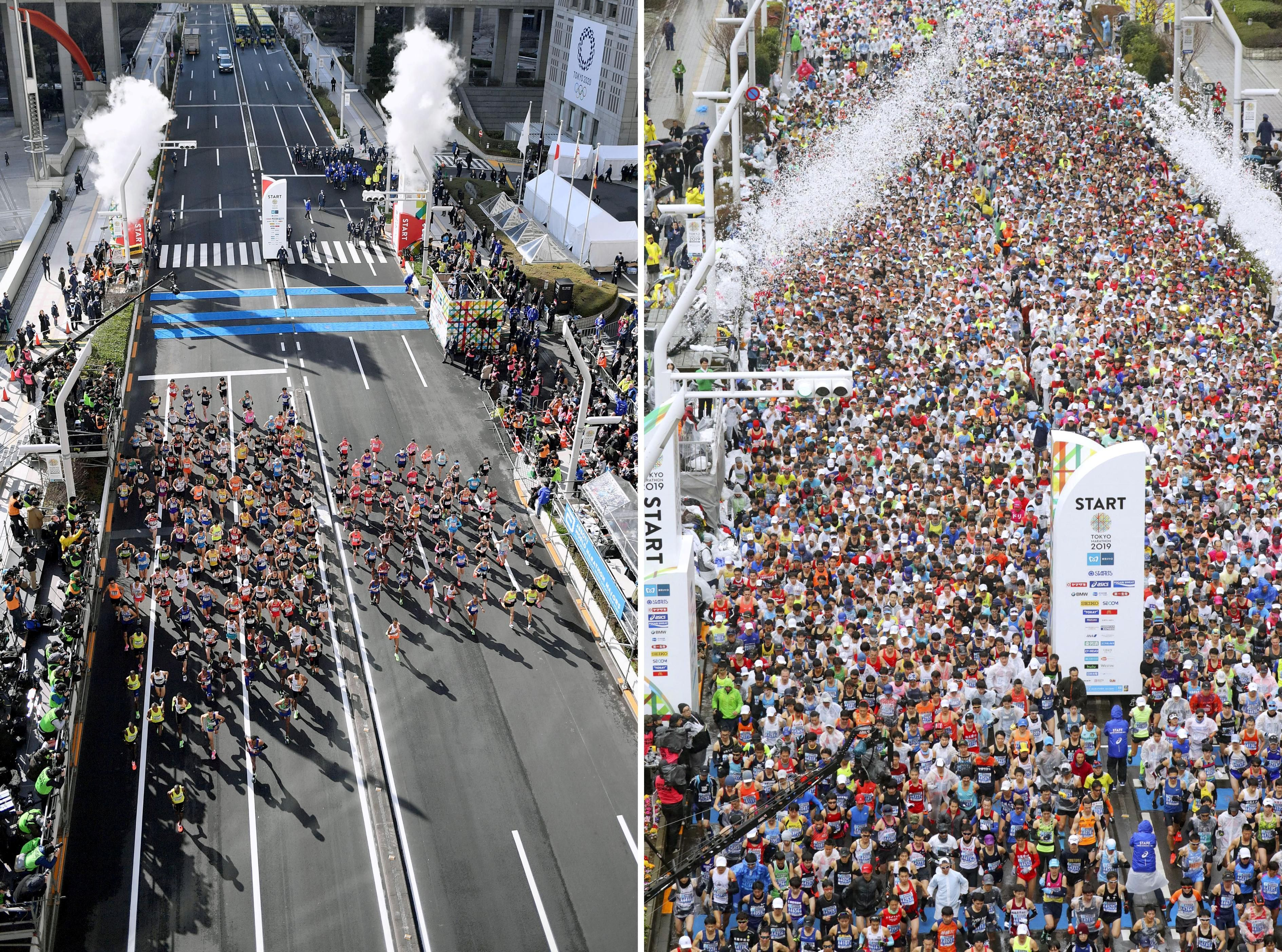 La largada de este domingo, en comparación con la carrera del año pasado (Reuters)