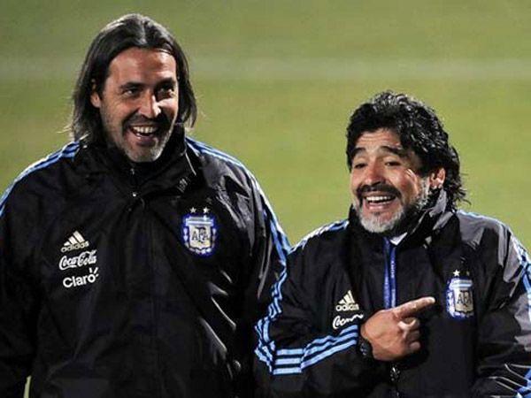 Batista y Maradona como entrenadores de la selección argentina