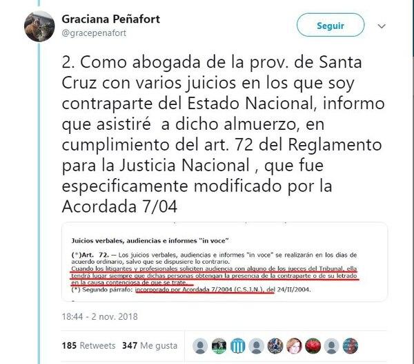 El tuit de la abogada Graciana Peñafort