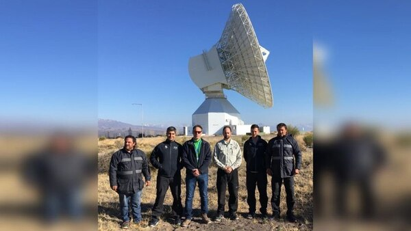 Autoridades argentinas durante la reinauguración de la antena en Mendoza, con nuevas prestaciones
