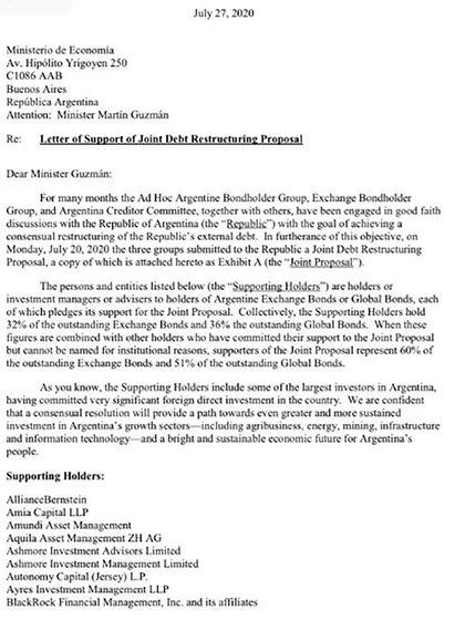 La última carta de los bonistas al ministro Guzmán