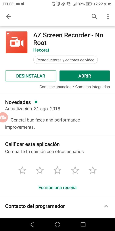 """AZ Screen Recorder es el """"estándar de oro"""" entre todas las aplicaciones que graban la pantalla de los dispositivos móviles (Captura de pantalla)"""