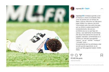 El posteo de Neymar tras confirmarse su lesión