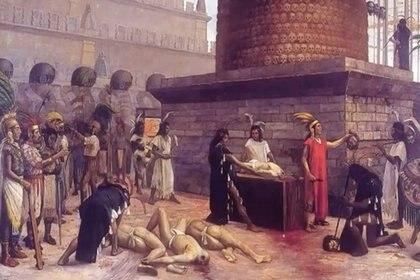 Obra de Adrián Unzueta, El Tzompantli, sacrificio mexica, Museo Nacional de Historia Foto: Secretaría de Cultura