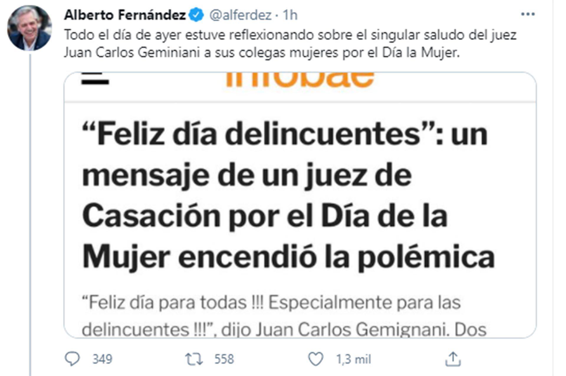 Alberto Fernández sobre juez geminani