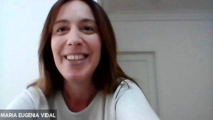 María Eugenia Vidal suele participar de reuniones por Zoom con dirigentes de algunos de los partidos que integran Juntos por el Cambio
