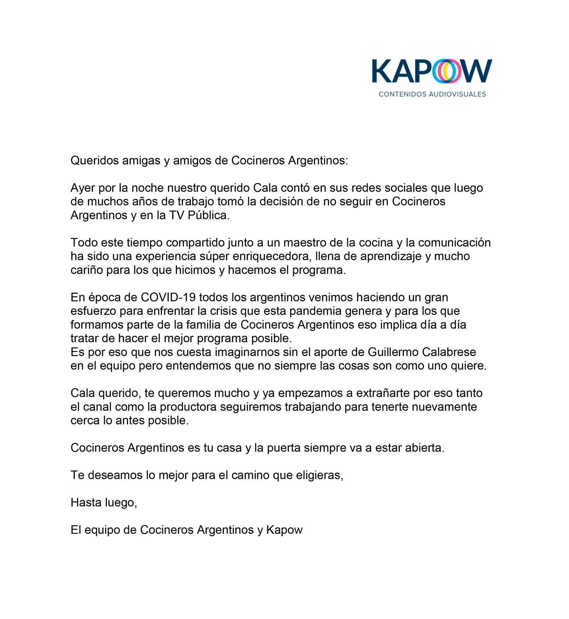 comunicado de Guillermo Calabrese