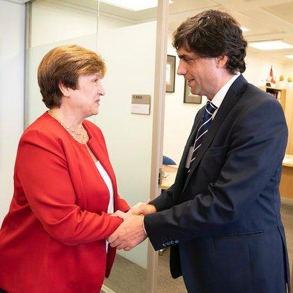 Georgieva, la nueva titular del FMI, con el ministro Lacunza, hace pocos días en EEUU
