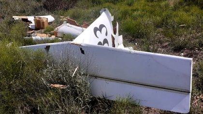 La avioneta liviana quedó prácticamente destruida