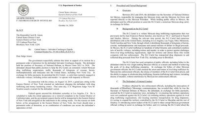 Una parte del expediente del Departamento de Justicia de Estados Unidos que advierte vínculos entre el Cártel de los Beltrán Leyva y Juan Francisco Patrón Sánchez (Foto: US Department of Justice)