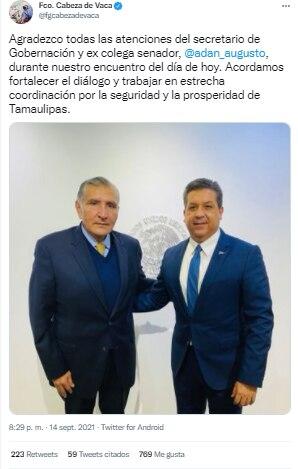 Tuit García Cabeza de Vaca reunión con Adán Augusto López