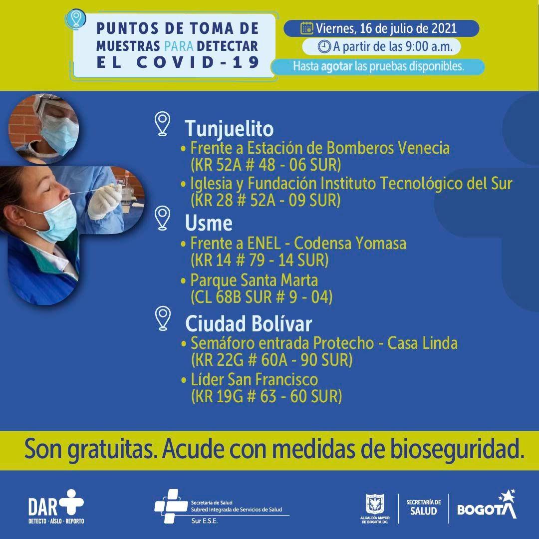 Puntos prueba covid-19 en Bogotá para el 16 de julio Foto: Secretaría Distrital de Salud de Bogotá