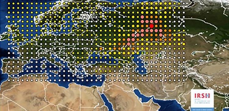 El alcance de la nube radioactiva, según el reporte de IRSN en 2017