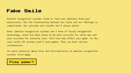 """El juego web emojify.info (disponible en inglés) tiene como objetivo mostrar cómo una computadora puede """"leer"""" las emociones humanas a través de la cámara y demostrar que nuestras emociones no se relacionan con gestos faciales"""