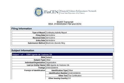 """CBM Agente de Valores fue reportada por la FinCEN. El Banco Central de Uruguay le revocó la licencia en 2016 por """"graves contravenciones a normas legales y reglamentarias vigentes"""" a la hora de prevenir el lavado de activos."""