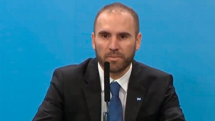 El ministro Guzmán en el anuncio de esta tarde en Casa Rosada