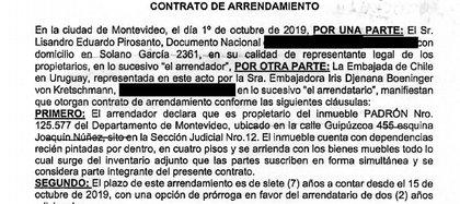 El contrato de alquiler firmado en octubre de 2019 entre la embajadora chilena en Uruguay y el contador del jugador, Lisandro Pirosanto.