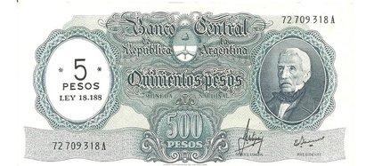 En respuesta a la devaluación de la moneda durante la dictadura militar de 1966 a 1969, el 15 de abril de ese último año se decreta el primer cambio del signo monetario por el Peso Ley 18.188