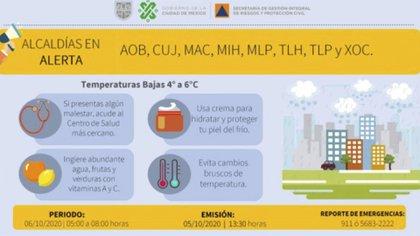 Las primeras horas del 6 de octubre habrá temperaturas de entre 4 y 6 grados centígrados (Ilustración: proteccioncivil.cdmx.gob.mx)
