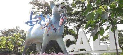 La escultura de Santa Estelita Gatía le da ahora la bienvenida a los visitantes de Cali. Foto: Alcaldía de Cali