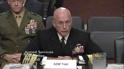 El almirante Kurt W. Tidd durante su audición de jueves ante la Comisión de Servicios Armados del Senado estadounidense (Captura de pantalla)