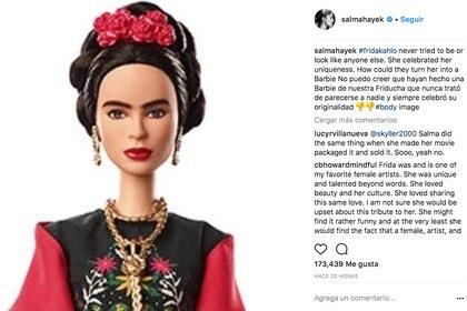 Salma Hayek criticó en su cuenta de Instagram la representación de Mattel de Frida Kahlo
