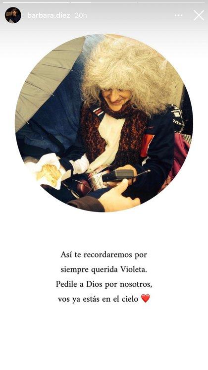 """""""Así te recordaremos por siempre, querida Violeta. Pedile a Dios por nosotros, vos ya estás en el cielo"""": el mensaje de Bárbara Diez"""