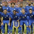 Brazil's starting line up pose for pictures during the international friendly match between El Salvador and Brazil at FedEx Field in Landover, Maryland on September 11, 2018. / AFP PHOTO / JIM WATSON