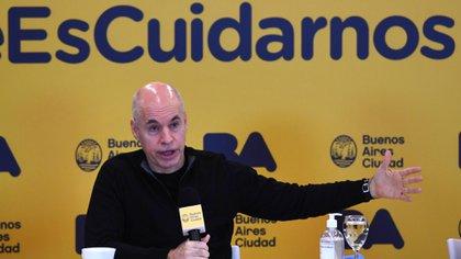 Horacio Rodríguez Larreta, este viernes en conferencia de prensa (Maximiliano Luna)
