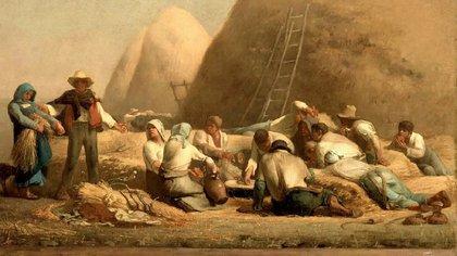 """Detalle de """"La comida de los segadores"""", Jean-François Millet"""