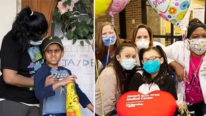 A la izquierda, Jayden Hardowar; a la derecha, Jissel Rosario junto a las enfermeras del hospital (Foto: AP (izq.)/Facebook Newark Beth Israel Medical Center (derecha))
