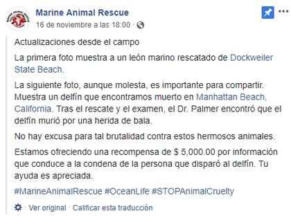 Publicación en Facebook de Marine Animal Rescue, que ofrecerá cinco mil dólares a quien revele información