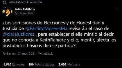 El periodista señaló a las instituciones internas de Morena y su accionar contra la candidata (Foto: Twitter/julioastillero)