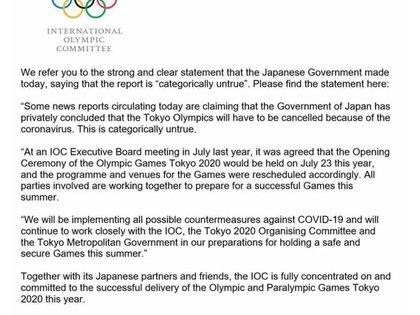 El comunicado del Comité Olímpico Internacional