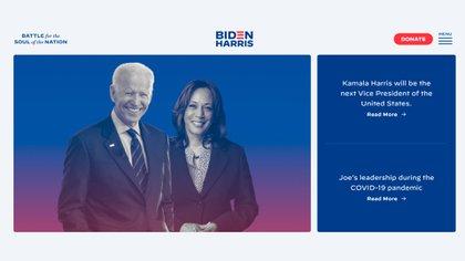 La portada del sitio oficial de la campaña de Biden a la presidencia fue actualizada este martes para mostrar también a Kamala Harris