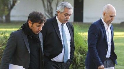 Alberto Fernández, Axel Kicillof y Horacio Rodríguez Larreta (Presidencia)