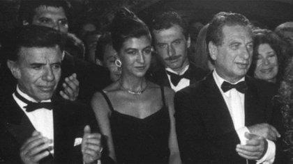 Menem, en un evento compartido con Franco y Mauricio Macri. El empresario tuvo gran protagonismo durante la presidencia, participando en el proceso de privatizaciones en el país y asociándose con firmas del exterior para hacerse con el control de Correo Argentino