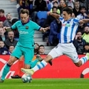 Soccer Football - La Liga Santander - Real Sociedad v FC Barcelona - Anoeta Stadium, San Sebastian, Spain - December 14, 2019 Barcelona's Ivan Rakitic in action with Real Sociedad's Ander Guevara REUTERS/Vincent West