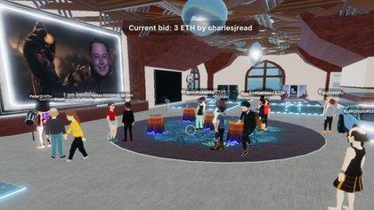 Así fue la subasta virtual del cuadro de Elon Musk (Crédito: prensa Decentral Games)