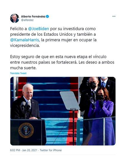 Alberto Fernández saludó -vía Twitter- la asunción de Joseph Biden como presidente de los Estados Unidos