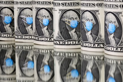 FILE PHOTO: George Washington is seen with printed medical mask on the one Dollar banknotes in this illustration taken, March 31, 2020. REUTERS/Dado Ruvic/Illustration/File Photo