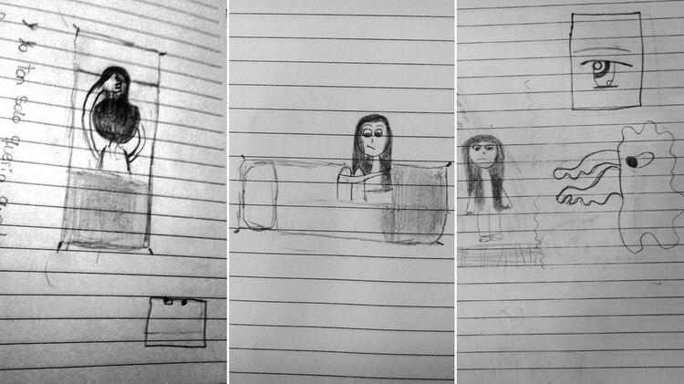 """Micaela hizo estos dibujos en la adolescencia. En el primero, su padre está sobre ella en su cama tapándole la boca. En el siguiente, """"no puedo dormir por el miedo de que el abuso vuelva a ocurrir"""". En el último, """"él me preguntaba cómo estaba el agua cuando me bañaba y se quedaba ahí"""", mirándola desnuda."""