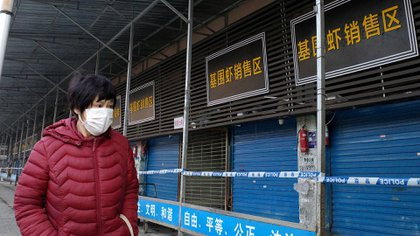 El mercado de animales exóticos de Wuhan, poco después de su cierre en enero de 2020 (NOEL CELIS / AFP)