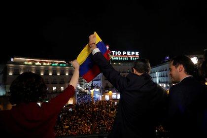 Juan Guaidó durante el evento con la diáspora venezolana en España. Foto: REUTERS/Susana Vera