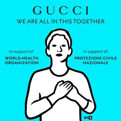 """""""Todos estamos juntos en esto"""", decía el posteo en la página oficial del Instagram de Gucci"""