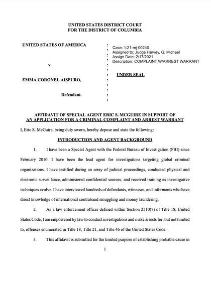 Está acusada por presunta conspiración para distribuir narcóticos en EEUU así como ayudar a la fuga de su esposo en 2015 (Foto: justice.gov)