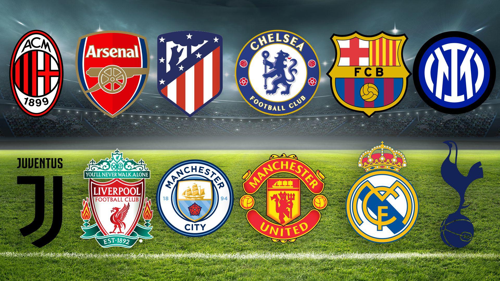 Milan, Arsenal FC, Atlético de Madrid, Chelsea, FC Barcelona, Inter de Milan, Juventus FC, Liverpool FC, Manchester City, Manchester United, Real Madrid CF y Tottenham Hotspur
