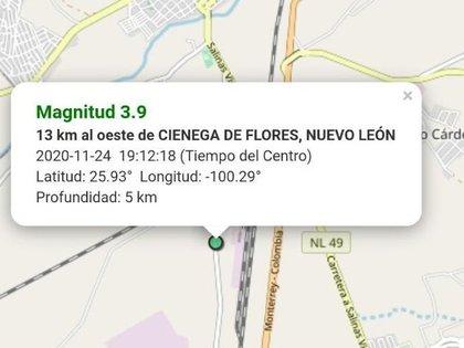 Reporte de Protección Civil de Nuevo León tras sismo de 3.9