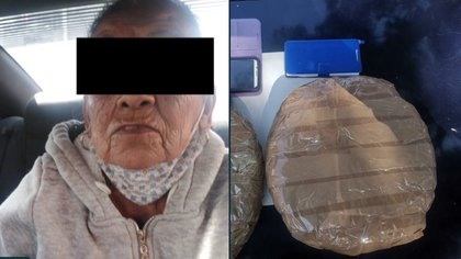La ancianita de 82 años fue detenida en posesión de dos paquetes que contenían marihuana Foto: @IztacalcoAl